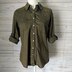 Democracy Women's Green Shirt with Diver Studs S